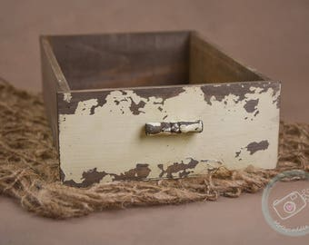 Vintage Drawer, Distressed Timber Drawer, Shabby Chic, photography prop, newborn prop, Cream drawer prop, wood prop, posing prop, crate