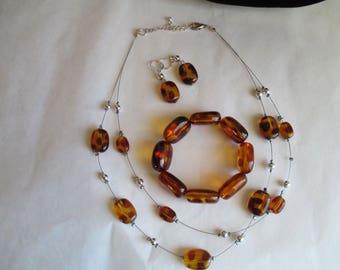 Necklace,  Earrings, Matching Bracelet - Rootbeer - Jewelry Sets, Unique Vintage Jewelry Set - Necklace, Bracelet & Earrings
