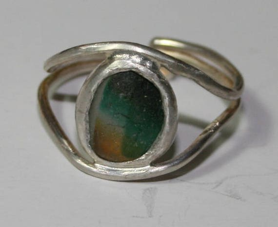 TURQUOISE and YELLOW MULTI Ring - Sterling Silver - adjustable sizing
