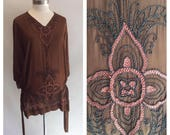 40% OFF 1920s 1930s Art Deco Amazing Brown Beaded Tunic Top with Side Ties Medium to Large M L