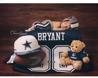 Crochet Newborn Dallas Cowboys Pants and Helmet Photography Prop/Baby Shower Gift/Infant Halloween Costume