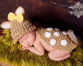Crochet Whitetail Deer Fawn Newborn Photo Prop/Photography Prop/Baby Shower Gift/Infant Halloween Costume/Critter Cape