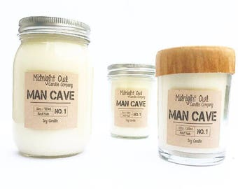 Man Cave | Scented Soy Candle, Mason Jar Candle, gift for men, Summer Scents, gift, eco friendly, Midnight Owl Candle Co.