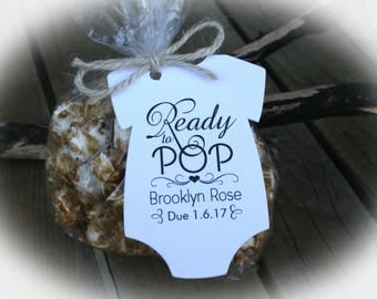 Popcorn Baby Shower Favor | 3 Tag Colors | Ready to pop Popcorn favors - Tags ONLY or kits with Bags & Twine | Baby shower Favors - LGE