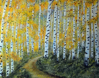 Autumn Aspen Tree Wall Art, Forest Landscape painting, Printable prints, Colorado Aspen Trees, Impressionism Fall Landscape