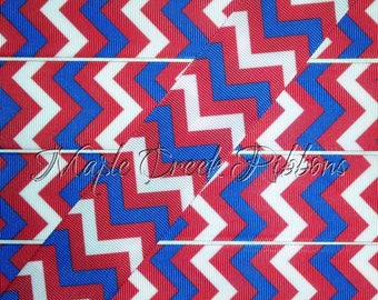 "1-1/2"" Red, White, and Blue Chevron Print Grosgrain Ribbon 1-1/2"" x 1 yard"