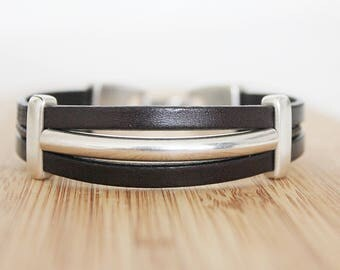 MEN LEATHER BRACELET - Bracelet for men - tube bracelet - trend bracelet - men bracelet - brown leather bracelet - Boyfriend Gift idea