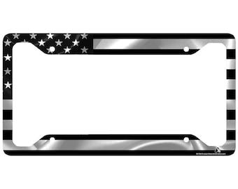 black american flag license plate frame american flag car tag frame us license plate - White License Plate Frame