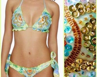 Unique Bikini, Pageant Bikini, Sequin bikini crystal bikini Cheeky Bikini, Sexy Bikini, triangle bikini Bathing Suit Floridita Espanola Way