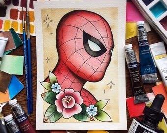 Spiderman Homecoming Tattoo Flash Watercolor Print by Michelle Coffee