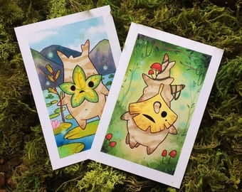 Korok Breath of the Wild Watercolor Print Set by Michelle Coffee
