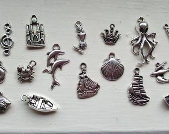 Little Mermaid Charm Set 16 Piece Tibetan Style Silver