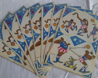 Vintage 1970 Harlem Globetrotters Stickers Collectables One Sheet of Stickers