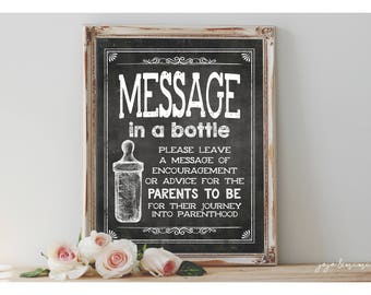 Instant 'MESSAGE in a BOTTLE for Parents to Be' Printable Event Sign Co Ed Baby Shower Advice and Encouragement Chalkboard Size Options
