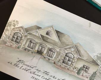 Custom Watercolor House/Office