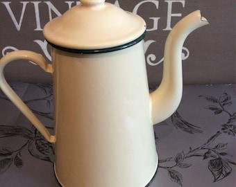 Vintage French Enamel coffee pot jug cream wirh green trim