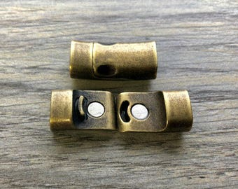 10x5mm Magnetic Clasp For Leather Cord -  2 Sets Antique Brass (26x13mm)  MC15