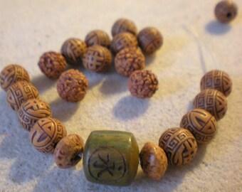 Yoga BRACELET KIT * bead square Chinese and Buddha beads * 9 mm