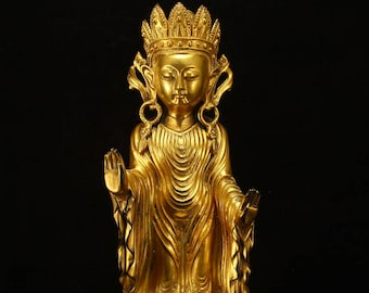 N4714 Chinese Ming Dy Gilt Gold Bronze Boddhisattva Statue