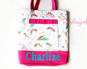 Kids library bag / girls library / lesson tote bag - Personalised / Customised name, Australian made, with pocket –  Unicorn Pink