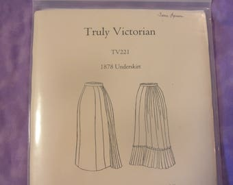TRULY VICTORIAN TV221 1878 Underskirt..  Multi-sized( look at chart)..New Uncut  Sewing Pattern
