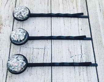 Silver Glitter Black Colour Bobby Pins• Blue Glittery Hair Grips• Handmade Hair Slides• Prom Hair• PACK of 3•  Made in Australia