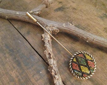 Vintage Gold Tone Sarah Coventry Multi-Colored Stick Pin