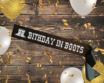 BLACK SASH Birthday in Boots