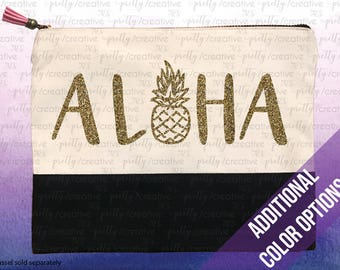 ALOHA Pineapple Two Tone Makeup/Travel Cosmetic Bag with Black Canvas Trim -  Black, Silver or Gold Glitter