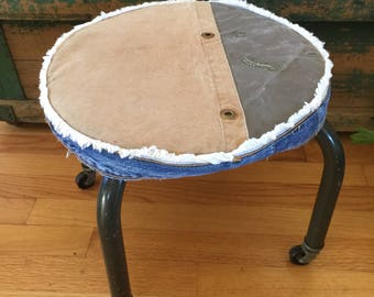 Slipcovered Vintage Industrial Stool