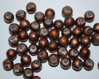 1 set of 8 bead round 6mm metallic Brown
