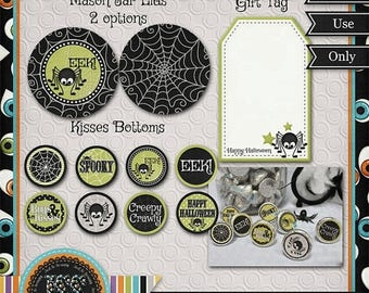 On Sale 50% Halloween Printables, Halloween Candy Wrappers, Halloween Party Favors, Mason Jar and Kiss Bottoms No 2 - INSTANT DOWNLOAD