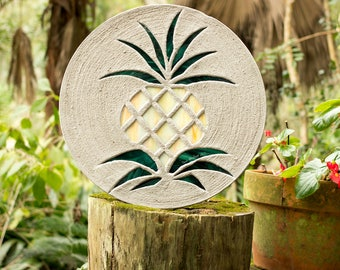 "Pretty Pineapple Stained Glass Stepping Stone, Welcome Guests to Your Garden, Patio or Back Yard With This Large 18"" Diameter Stone, #739"