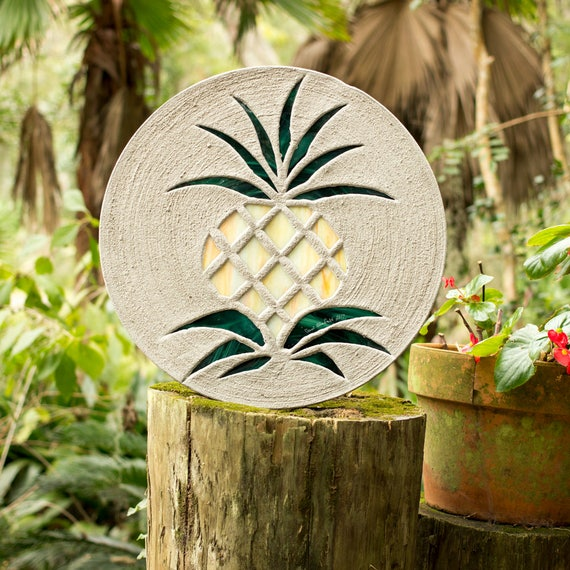 Pretty Pineapple Stained Glass Stepping Stone #739