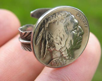Ring 1930 s Buffalo Indian Nickel coins various  full date solid 925 sterling silver feather Nice gift for Buffalo Bills and Bulls Seminole