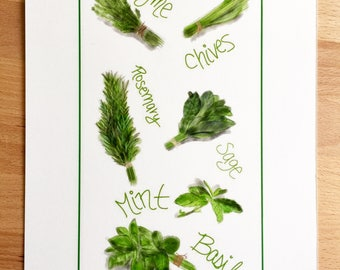 Herb Print Tea Towel - Herbs Kitchen Decor Basil Thyme Chives Rosemary Sage Mint - Hand Drawn Print