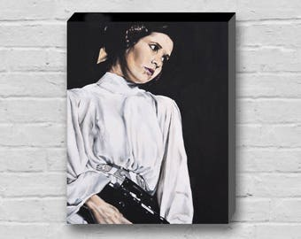 The Princess - Princess Leia / Carrie Fisher with Gun Star Wars a New Hope Canvas Art Print