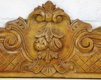"""RESERVED ALICE Pediment Ornate Overdoor Architectural Reclaimed Carved Wood 38.97"""" wide"""