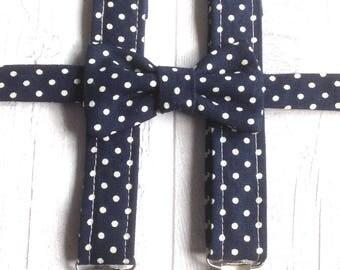 Boys Baby BowTie & Braces Set - Wedding Accessories - Cotton Bowtie - Baby Bowtie - Suspenders - Navy and Polka Dot