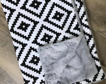 Black and White Aztec double cuddle Blanket, minky blanket, baby blanket