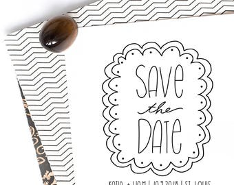Save the Date Stamp, Wedding Stamp, Save the Dates, Wedding Stamp With Names and Date, Custom Save the Date Stamp Style No. 73W
