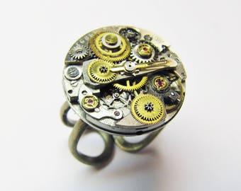 Steampunk Embellished Vintage Watch Movement Ring, Steampunk Ring, Steampunk Watch Ring, Watch Movement Ring, RG4