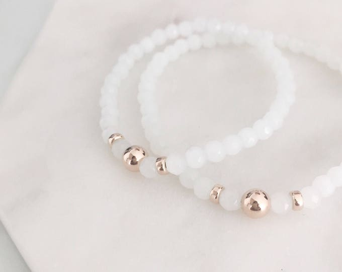 Featured listing image: QUINSCO - Small White Agate Stretch Bracelet with Silver, Gold, or Rose Gold Hardware