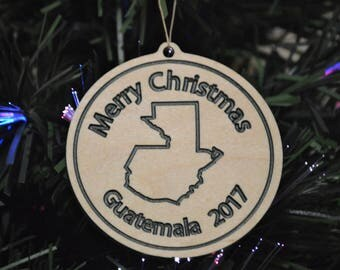 Guatemala Merry Christmas Wooden Ornament 2017