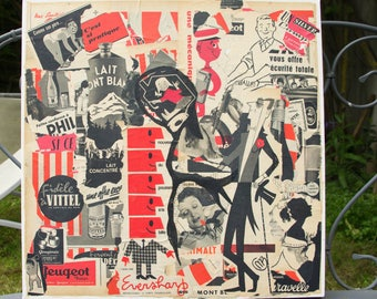 """""""BLACK AND RED"""" COLLAGE ON CANVAS VINTAGE ADS"""