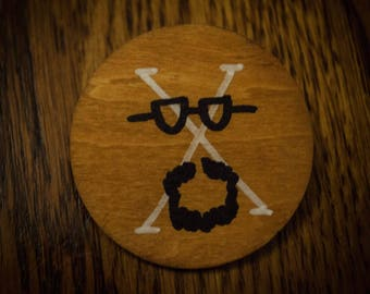 Large Malcolm X Face Wood Pin