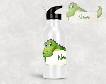 Personalised Stainless Steel Water Bottle - CROCODILE
