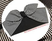 Beetlejuice Black and White Stripe Rockabilly Punk Vintage Pin Up Inspired Head Scarf Hair Tie Headscarf Hair Bow by Miss Cherry Makewell