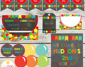 BOUNCE HOUSE Party Package, Jumping Birthday Party, Jump Party, Colorful, Chalkboard, Printable