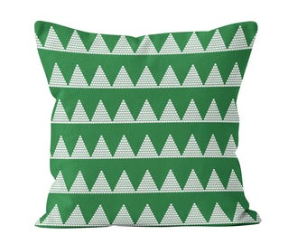 Modern Holiday Pillow Cover, Green Christmas Throw Pillow Cover, Christmas Trees Pillow Cover, Scandinavian Minimalist Christmas Decor _M
